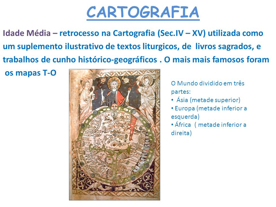 CARTOGRAFIA Idade Média – retrocesso na Cartografia (Sec.IV – XV) utilizada como um suplemento ilustrativo de textos liturgicos, de livros sagrados, e
