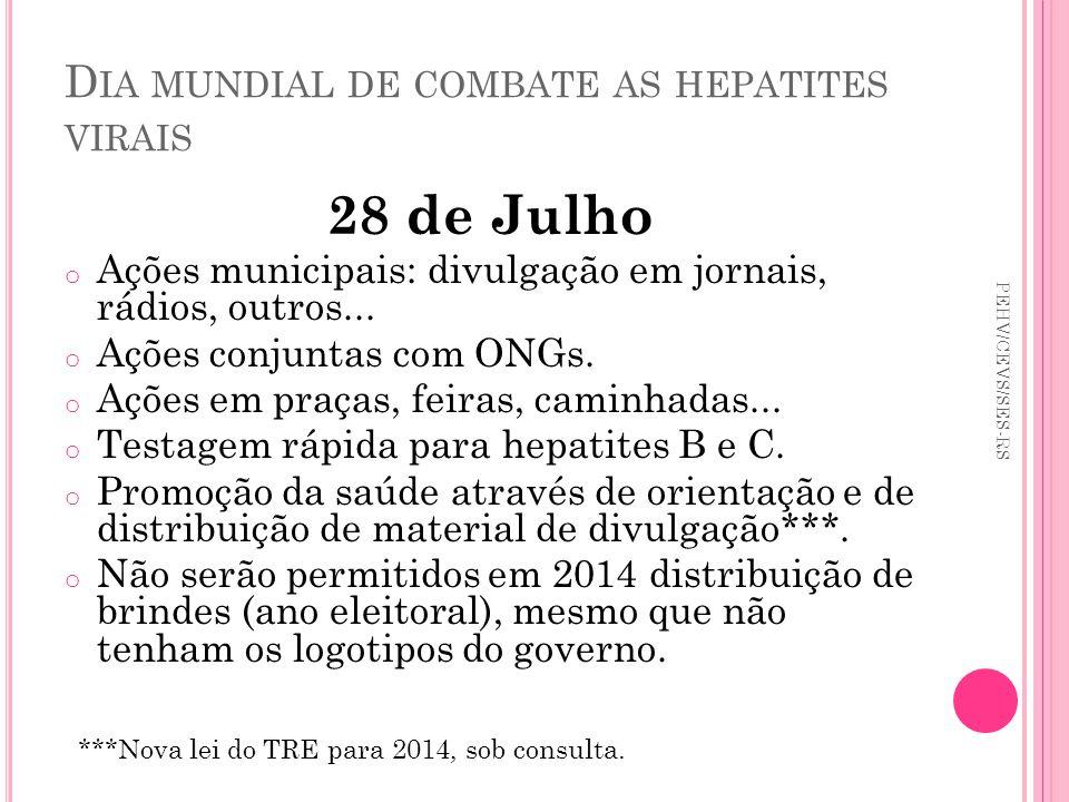 D IA MUNDIAL DE COMBATE AS HEPATITES VIRAIS 28 de Julho o Ações municipais: divulgação em jornais, rádios, outros... o Ações conjuntas com ONGs. o Açõ