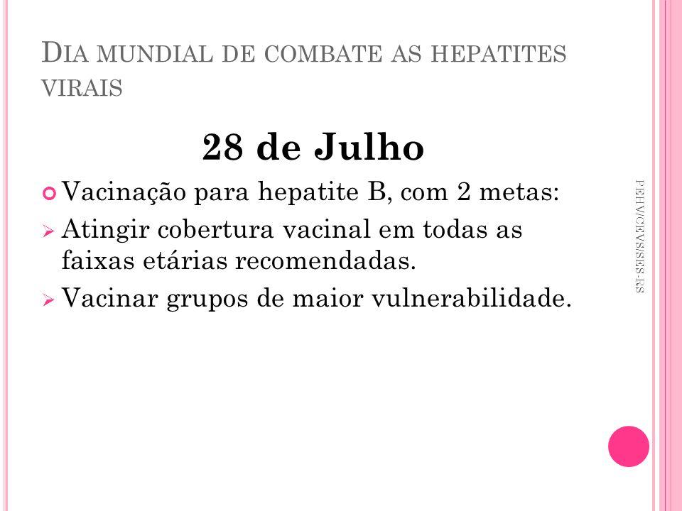 D IA MUNDIAL DE COMBATE AS HEPATITES VIRAIS 28 de Julho Vacinação para hepatite B, com 2 metas: Atingir cobertura vacinal em todas as faixas etárias r
