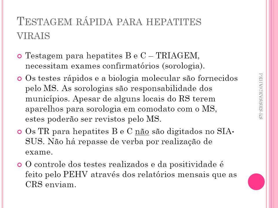 T ESTAGEM RÁPIDA PARA HEPATITES VIRAIS Testagem para hepatites B e C – TRIAGEM, necessitam exames confirmatórios (sorologia). Os testes rápidos e a bi