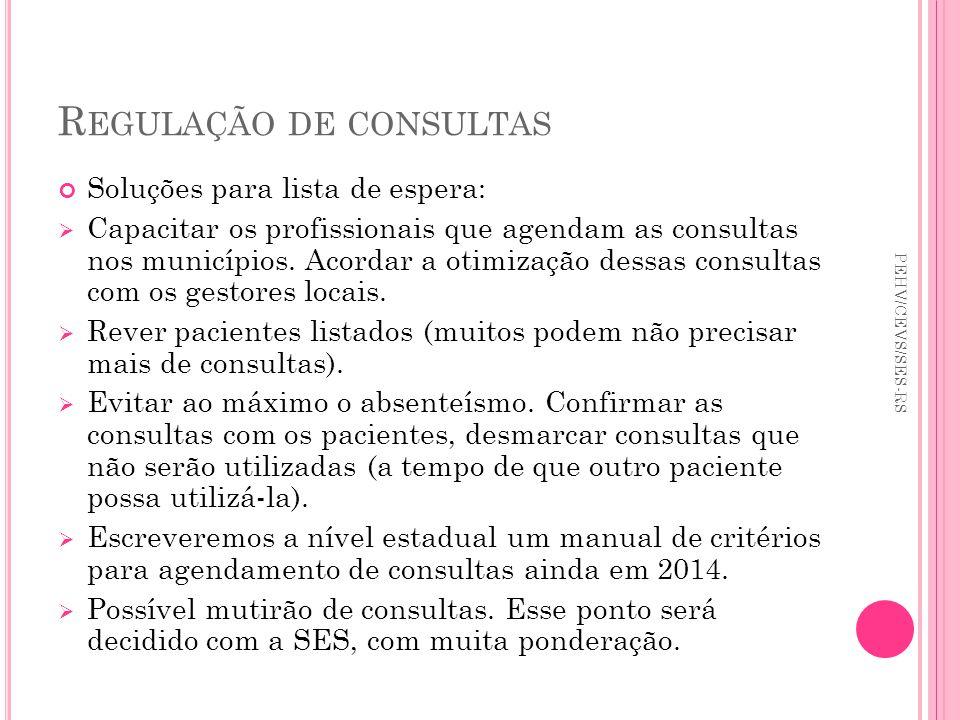 R EGULAÇÃO DE CONSULTAS Soluções para lista de espera: Capacitar os profissionais que agendam as consultas nos municípios. Acordar a otimização dessas