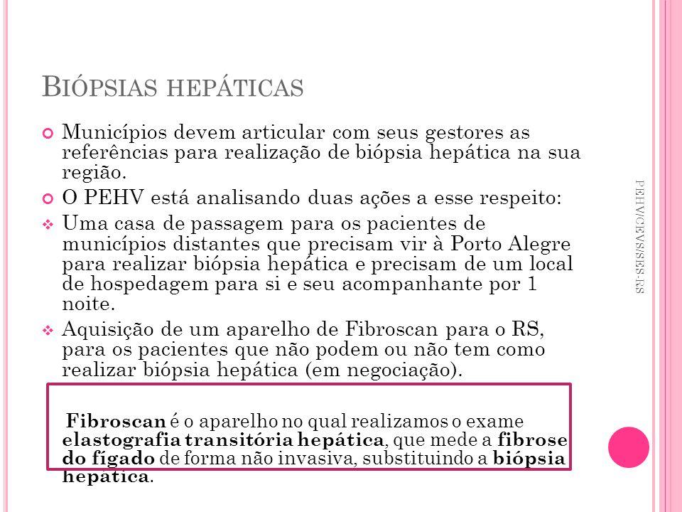 B IÓPSIAS HEPÁTICAS Municípios devem articular com seus gestores as referências para realização de biópsia hepática na sua região. O PEHV está analisa