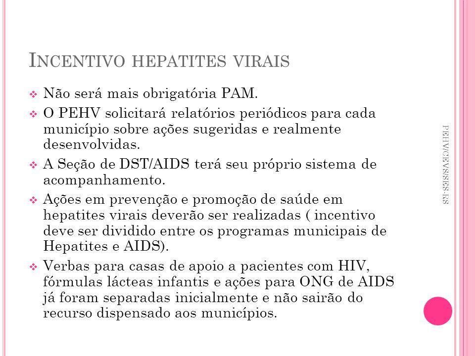 I NCENTIVO HEPATITES VIRAIS Não será mais obrigatória PAM. O PEHV solicitará relatórios periódicos para cada município sobre ações sugeridas e realmen
