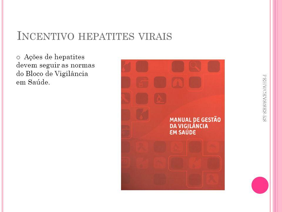 I NCENTIVO HEPATITES VIRAIS PEHV/CEVS/SES-RS o Ações de hepatites devem seguir as normas do Bloco de Vigilância em Saúde.