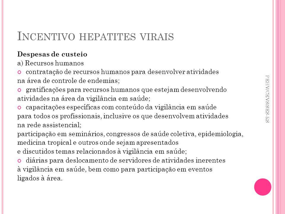 I NCENTIVO HEPATITES VIRAIS Despesas de custeio a) Recursos humanos contratação de recursos humanos para desenvolver atividades na área de controle de