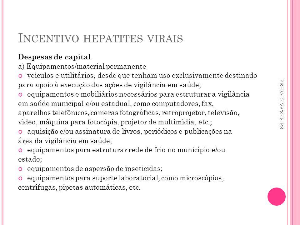 I NCENTIVO HEPATITES VIRAIS Despesas de capital a) Equipamentos/material permanente veículos e utilitários, desde que tenham uso exclusivamente destin