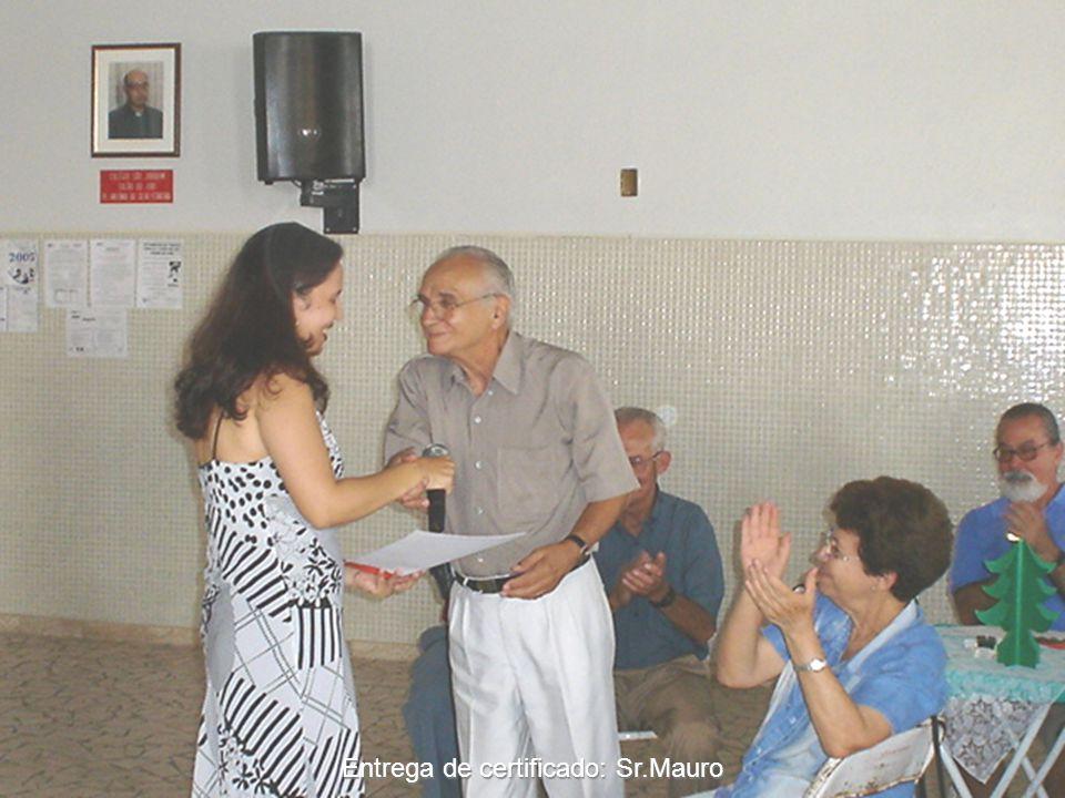 Entrega de certificado: Sr.Mauro