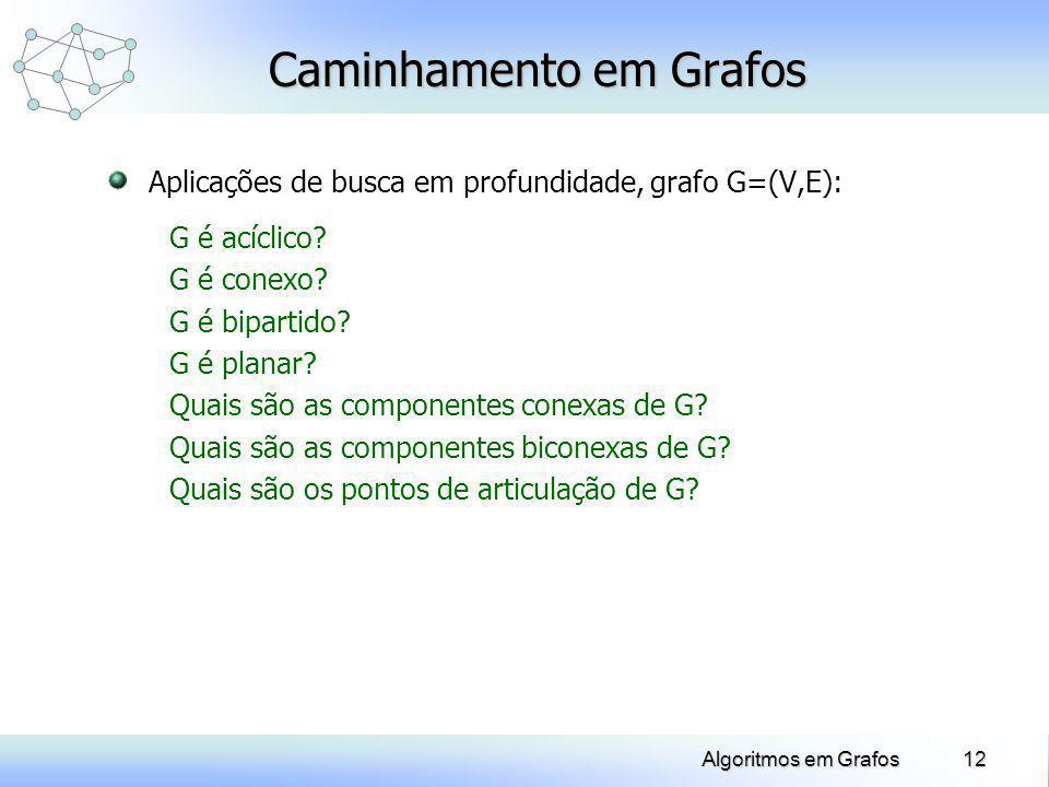Algoritmos em Grafos Caminhamento em Grafos Aplicações de busca em profundidade, grafo G=(V,E): G é acíclico? G é conexo? G é bipartido? G é planar? Q