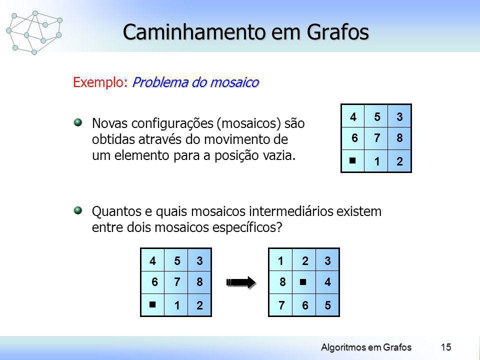 15Algoritmos em Grafos Caminhamento em Grafos Problema do mosaico Exemplo: Problema do mosaico Quantos e quais mosaicos intermediários existem entre d