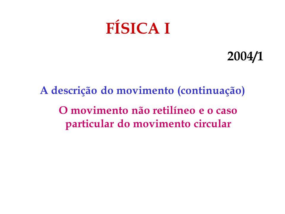 FÍSICA I 2004/1 A descrição do movimento (continuação) O movimento não retilíneo e o caso particular do movimento circular