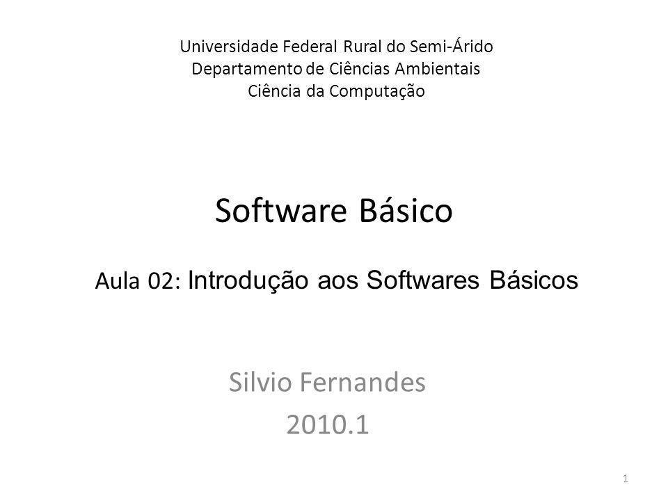 Software Básico Silvio Fernandes 2010.1 Universidade Federal Rural do Semi-Árido Departamento de Ciências Ambientais Ciência da Computação Aula 02: In