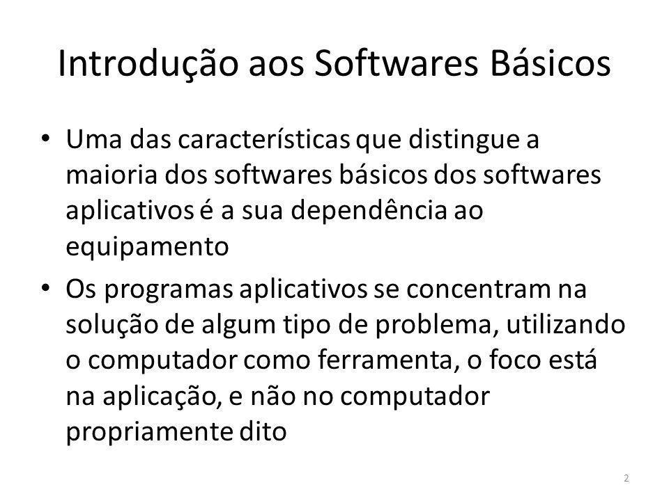Introdução aos Softwares Básicos Softwares básicos têm como objetivo possibilitar a operação e o uso do computador, seja qual for a aplicação utilizada.
