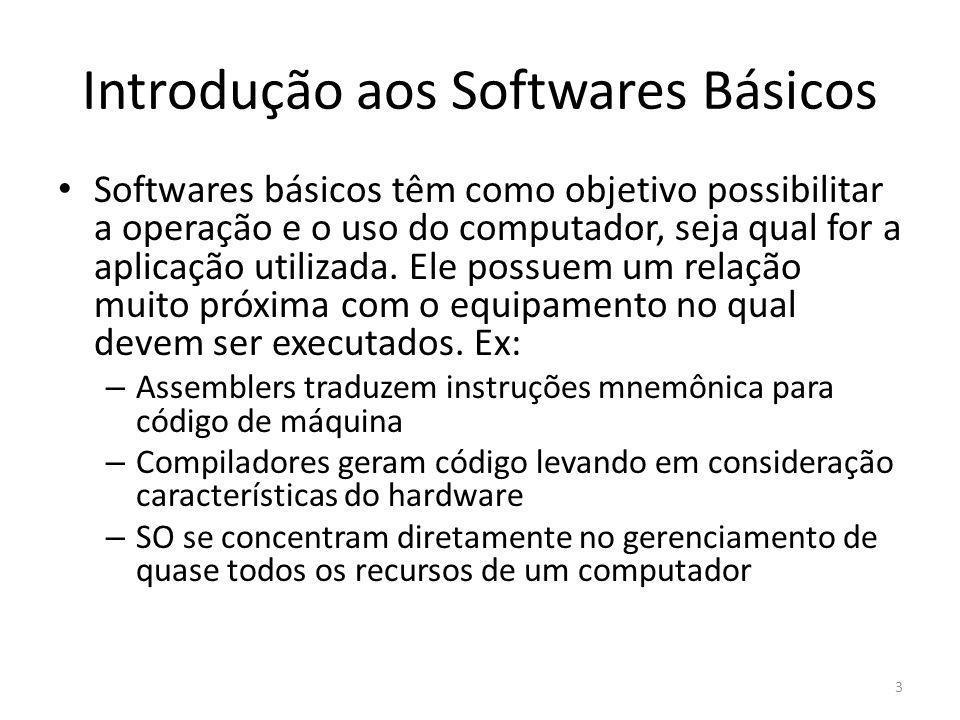 Introdução aos Softwares Básicos Softwares básicos têm como objetivo possibilitar a operação e o uso do computador, seja qual for a aplicação utilizad