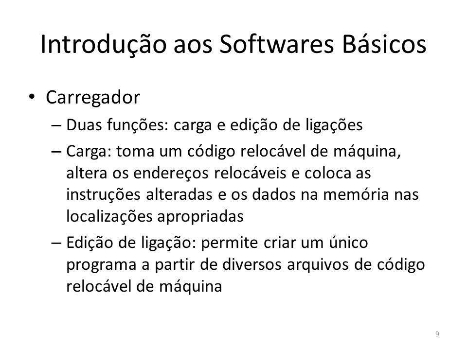 Introdução aos Softwares Básicos Carregador – Duas funções: carga e edição de ligações – Carga: toma um código relocável de máquina, altera os endereç