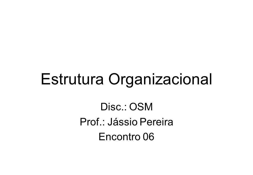 Estrutura Organizacional Disc.: OSM Prof.: Jássio Pereira Encontro 06