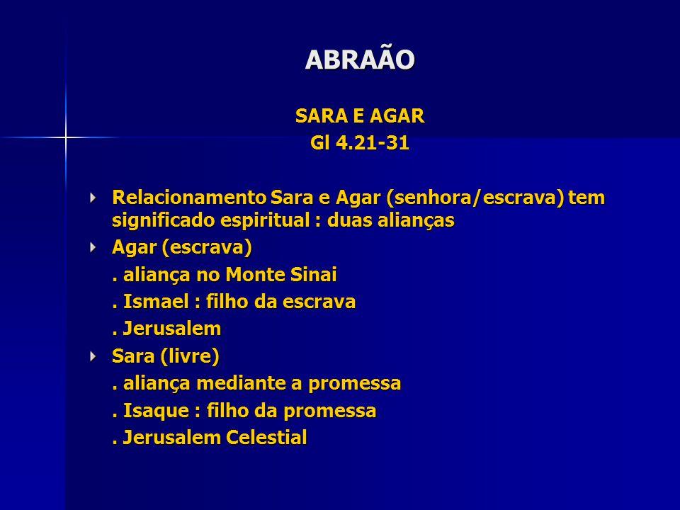 SARA E AGAR Gl 4.21-31 Relacionamento Sara e Agar (senhora/escrava) tem significado espiritual : duas alianças Agar (escrava).