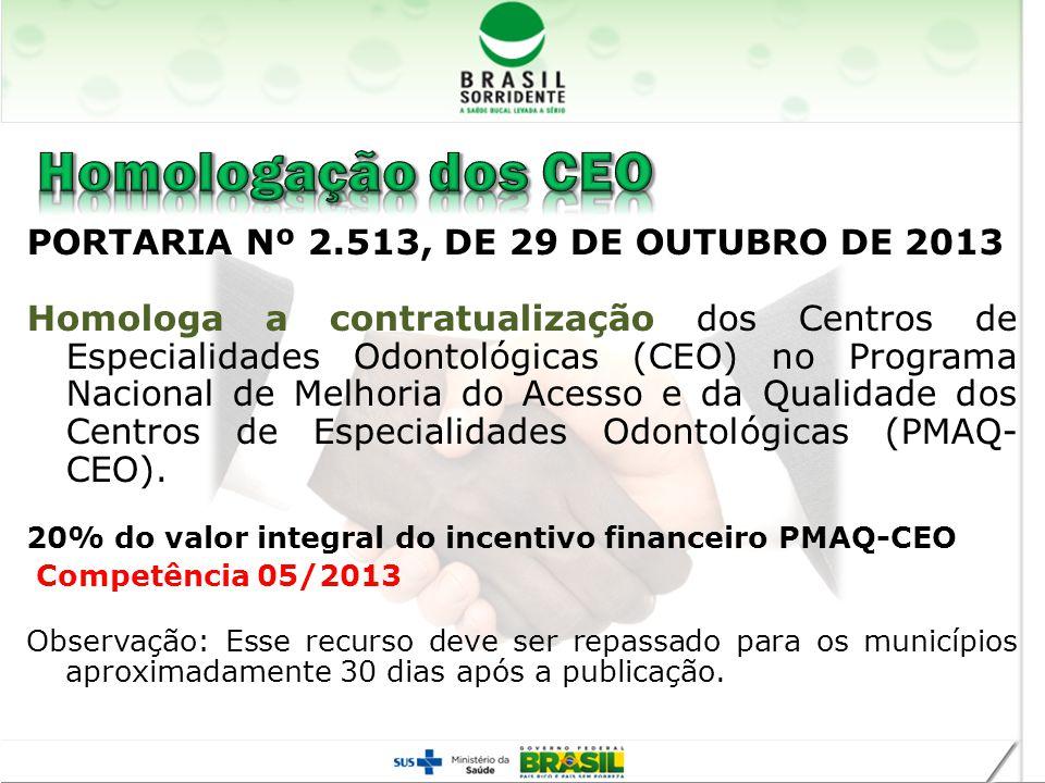 PORTARIA Nº 2.513, DE 29 DE OUTUBRO DE 2013 Homologa a contratualização dos Centros de Especialidades Odontológicas (CEO) no Programa Nacional de Melh