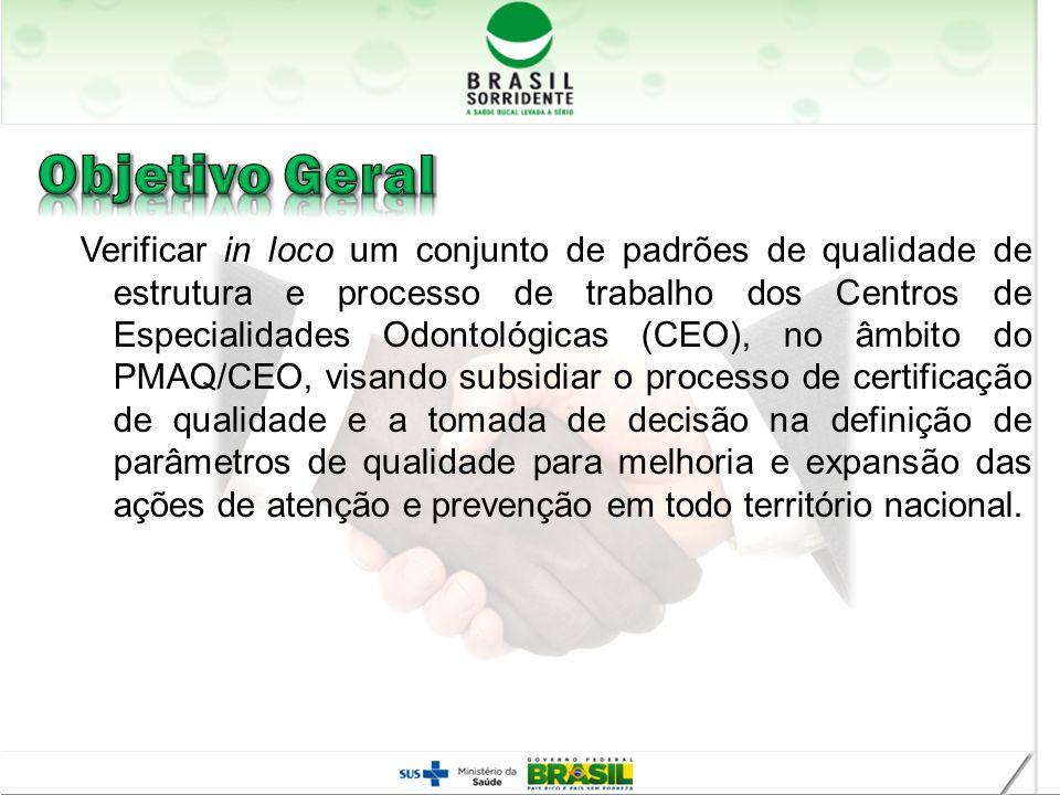 Verificar in loco um conjunto de padrões de qualidade de estrutura e processo de trabalho dos Centros de Especialidades Odontológicas (CEO), no âmbito