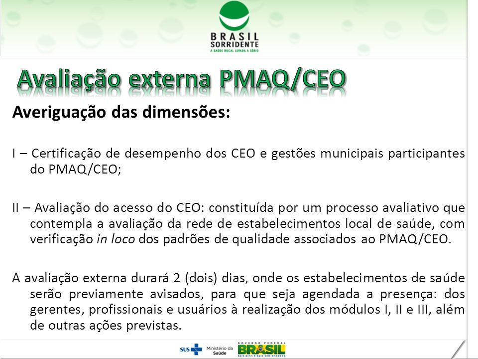 Averiguação das dimensões: I – Certificação de desempenho dos CEO e gestões municipais participantes do PMAQ/CEO; II – Avaliação do acesso do CEO: con
