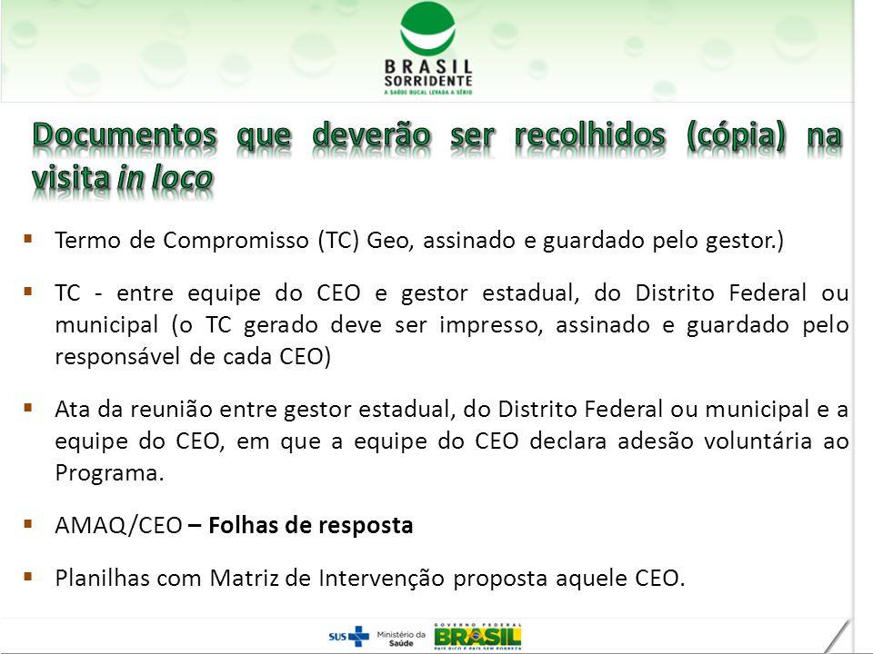 Termo de Compromisso (TC) Geo, assinado e guardado pelo gestor.) TC - entre equipe do CEO e gestor estadual, do Distrito Federal ou municipal (o TC ge