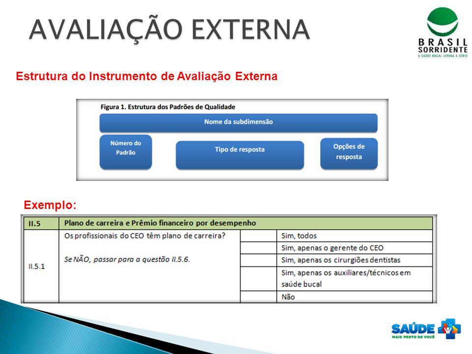 Estrutura do Instrumento de Avaliação Externa Exemplo: