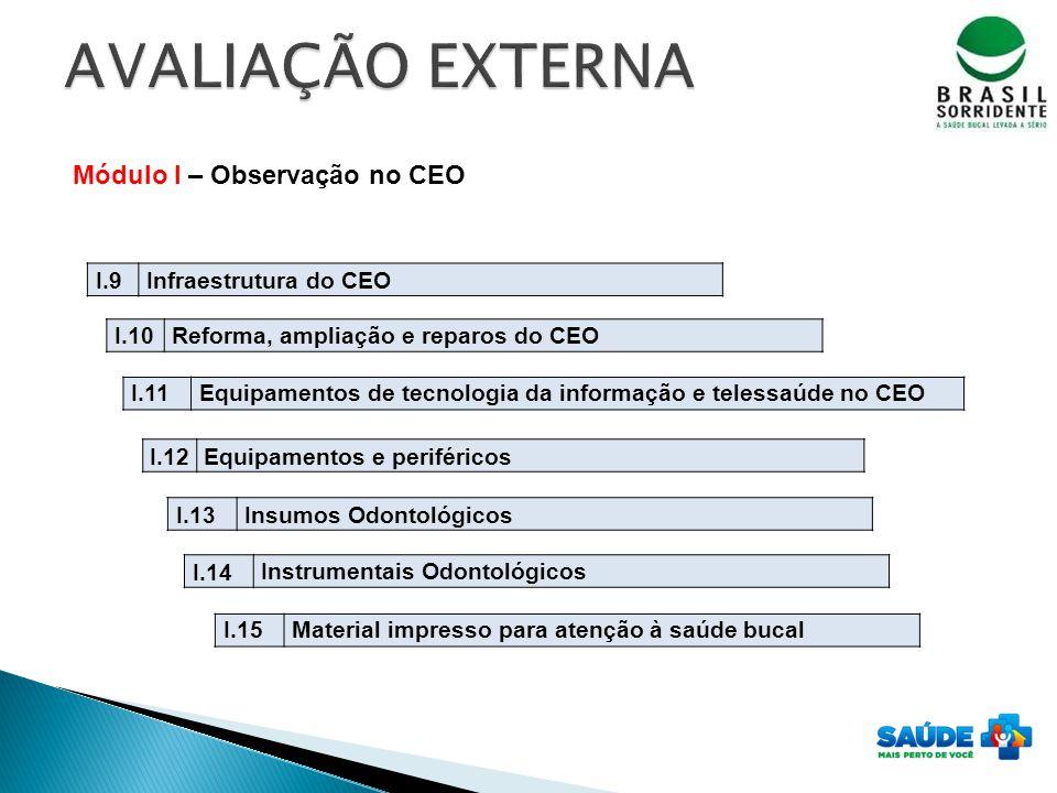 Módulo I – Observação no CEO I.9Infraestrutura do CEO I.10Reforma, ampliação e reparos do CEO I.11Equipamentos de tecnologia da informação e telessaúd