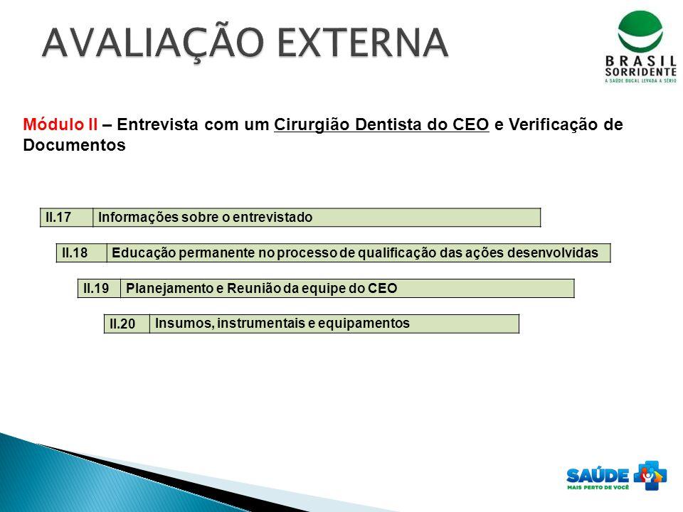 II.18 Educação permanente no processo de qualificação das ações desenvolvidas II.19 Planejamento e Reunião da equipe do CEO II.20 Insumos, instrumenta
