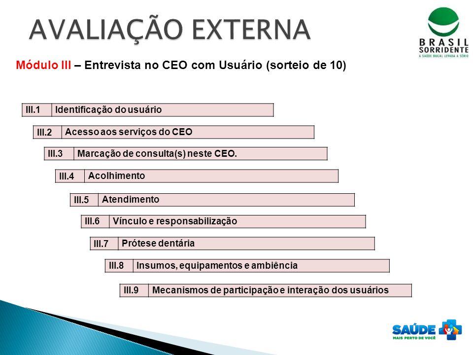 Módulo III – Entrevista no CEO com Usuário (sorteio de 10) III.1 Identificação do usuário III.2 Acesso aos serviços do CEO III.3 Marcação de consulta(