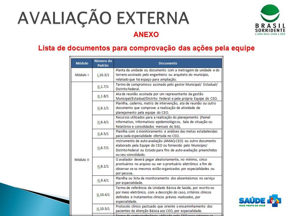 ANEXO Lista de documentos para comprovação das ações pela equipe