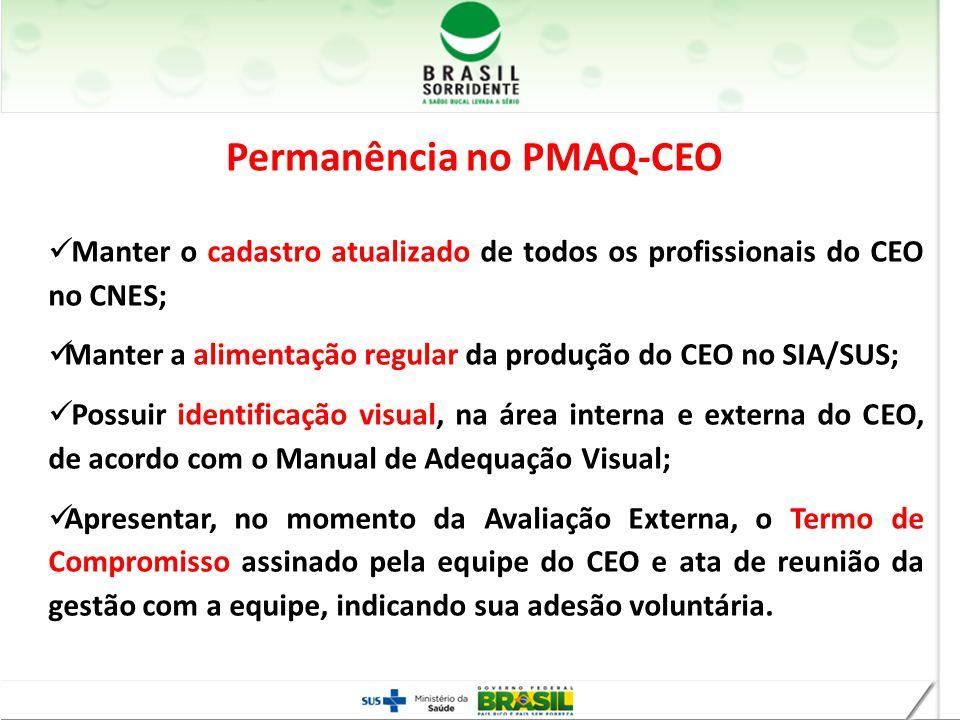 Manter o cadastro atualizado de todos os profissionais do CEO no CNES; Manter a alimentação regular da produção do CEO no SIA/SUS; Possuir identificaç