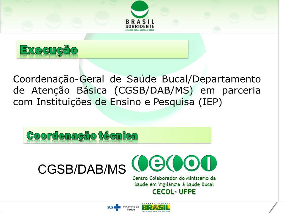 Realização Coordenação-Geral de Saúde Bucal/Departamento de Atenção Básica (CGSB/DAB/MS) em parceria com Instituições de Ensino e Pesquisa (IEP) Centr