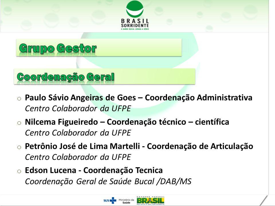 Realização o Paulo Sávio Angeiras de Goes – Coordenação Administrativa Centro Colaborador da UFPE o Nilcema Figueiredo – Coordenação técnico – científ