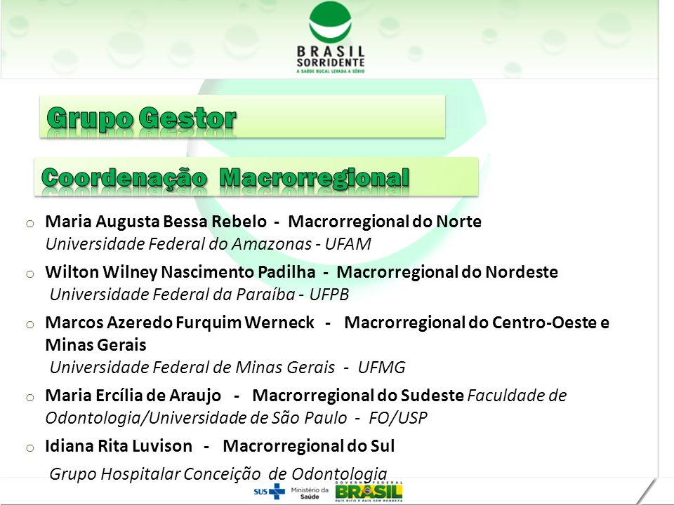 Realização o Maria Augusta Bessa Rebelo - Macrorregional do Norte Universidade Federal do Amazonas - UFAM o Wilton Wilney Nascimento Padilha - Macrorr