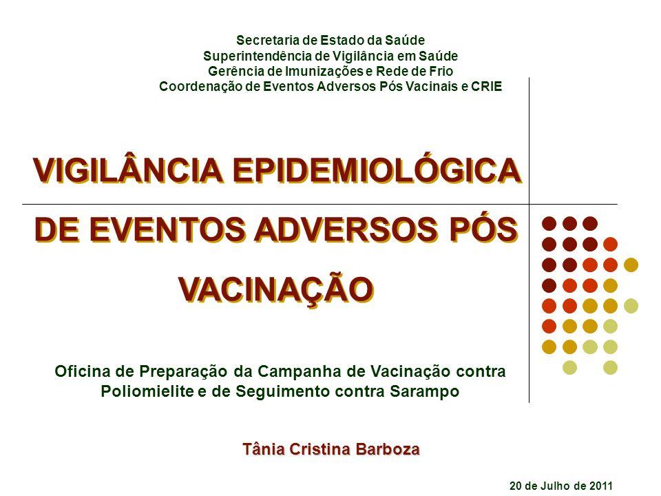 VIGILÂNCIA EPIDEMIOLÓGICA DE EVENTOS ADVERSOS PÓS VACINAÇÃO VIGILÂNCIA EPIDEMIOLÓGICA DE EVENTOS ADVERSOS PÓS VACINAÇÃO Oficina de Preparação da Campa