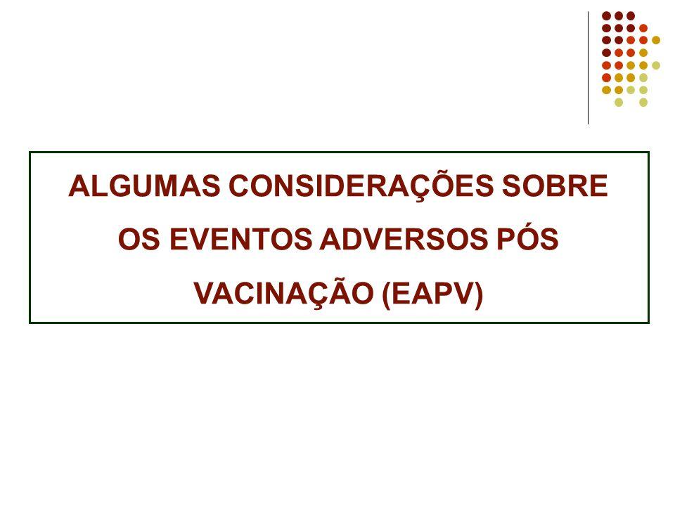 ALGUMAS CONSIDERAÇÕES SOBRE OS EVENTOS ADVERSOS PÓS VACINAÇÃO (EAPV)