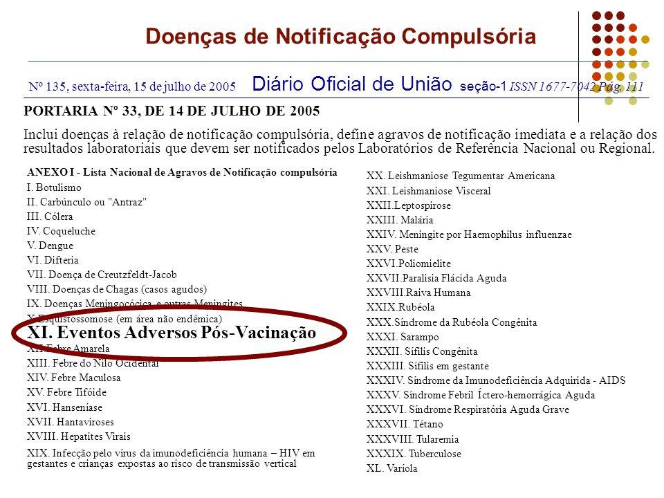 Nº 135, sexta-feira, 15 de julho de 2005 Diário Oficial de União seção-1 ISSN 1677-7042 Pág. 111 PORTARIA Nº 33, DE 14 DE JULHO DE 2005 Inclui doenças
