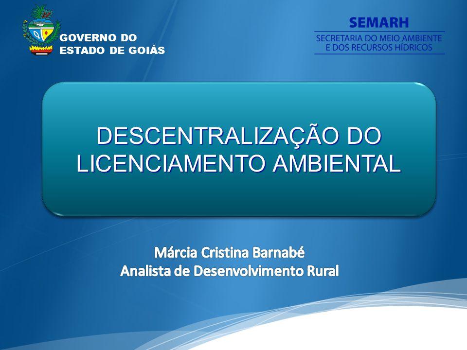 GOVERNO DO ESTADO DE GOIÁS DESCENTRALIZAÇÃO DO LICENCIAMENTO AMBIENTAL