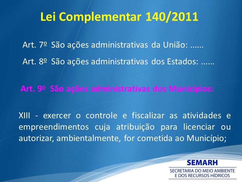 Lei Complementar 140/2011 Art. 7 o São ações administrativas da União:...... Art. 8 o São ações administrativas dos Estados:...... Art. 9 o São ações