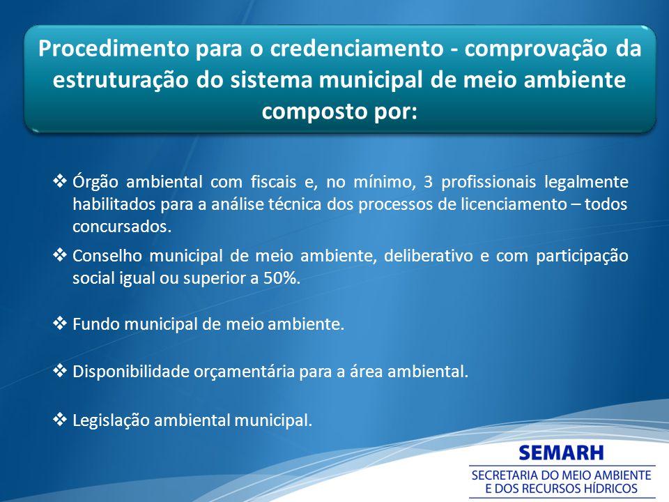 Procedimento para o credenciamento - comprovação da estruturação do sistema municipal de meio ambiente composto por: Órgão ambiental com fiscais e, no