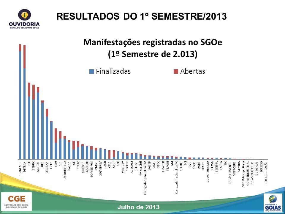 RESULTADOS DO 1º SEMESTRE/2013