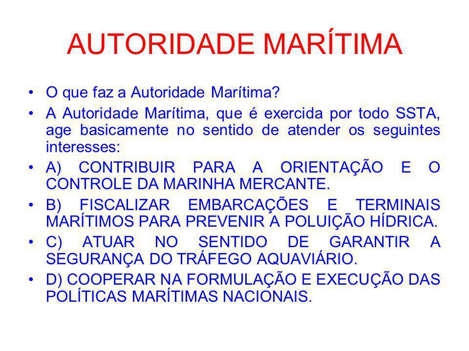 AUTORIDADE MARÍTIMA A Autoridade Marítima é exercida pela Marinha do Brasil, por meio de um órgão especializado, que é denominada de Diretoria de Portos e Costa – DPC.