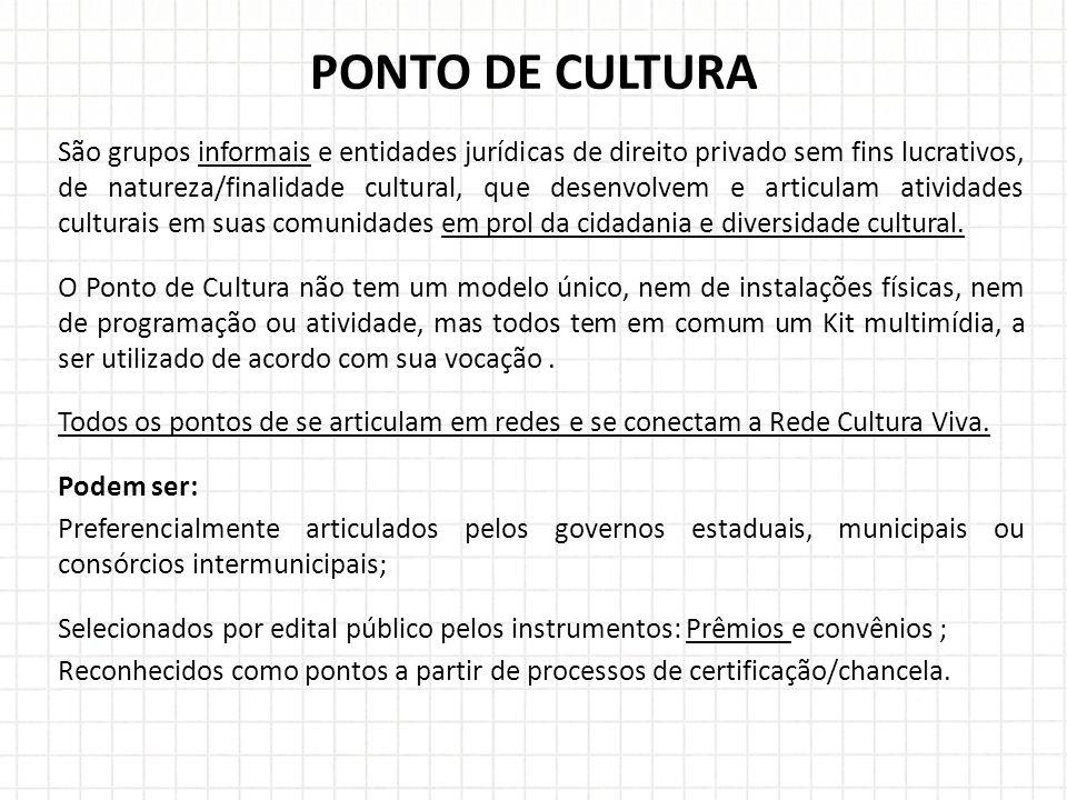 São grupos informais e entidades jurídicas de direito privado sem fins lucrativos, de natureza/finalidade cultural, que desenvolvem e articulam atividades culturais em suas comunidades em prol da cidadania e diversidade cultural.