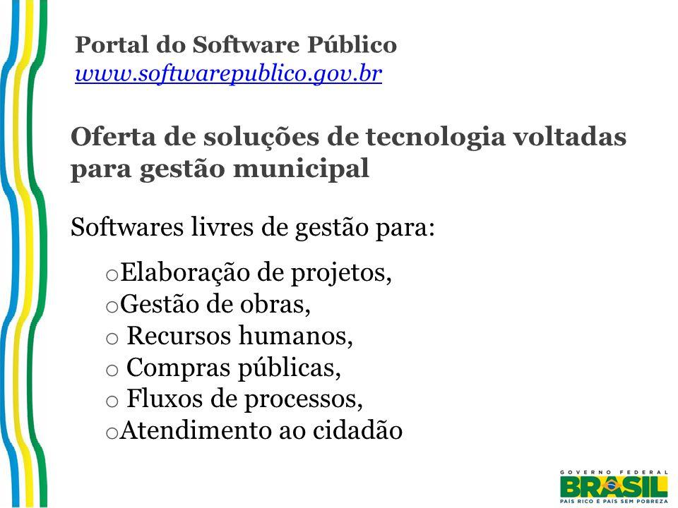 Portal do Software Público www.softwarepublico.gov.br www.softwarepublico.gov.br Oferta de soluções de tecnologia voltadas para gestão municipal Softwares livres de gestão para: o Elaboração de projetos, o Gestão de obras, o Recursos humanos, o Compras públicas, o Fluxos de processos, o Atendimento ao cidadão