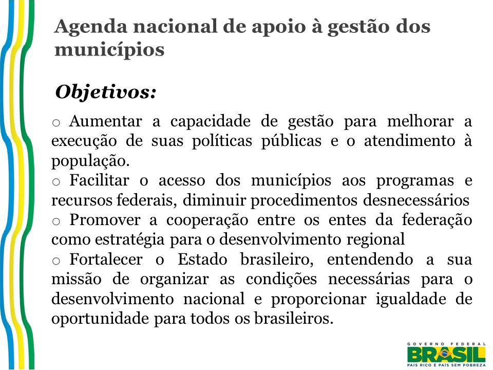 Agenda nacional de apoio à gestão dos municípios Objetivos: o Aumentar a capacidade de gestão para melhorar a execução de suas políticas públicas e o atendimento à população.
