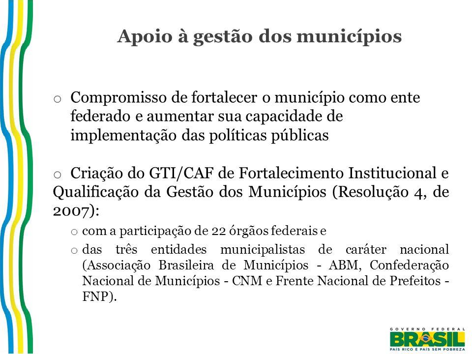 Apoio à gestão dos municípios o Compromisso de fortalecer o município como ente federado e aumentar sua capacidade de implementação das políticas públicas o Criação do GTI/CAF de Fortalecimento Institucional e Qualificação da Gestão dos Municípios (Resolução 4, de 2007): o com a participação de 22 órgãos federais e o das três entidades municipalistas de caráter nacional (Associação Brasileira de Municípios - ABM, Confederação Nacional de Municípios - CNM e Frente Nacional de Prefeitos - FNP).