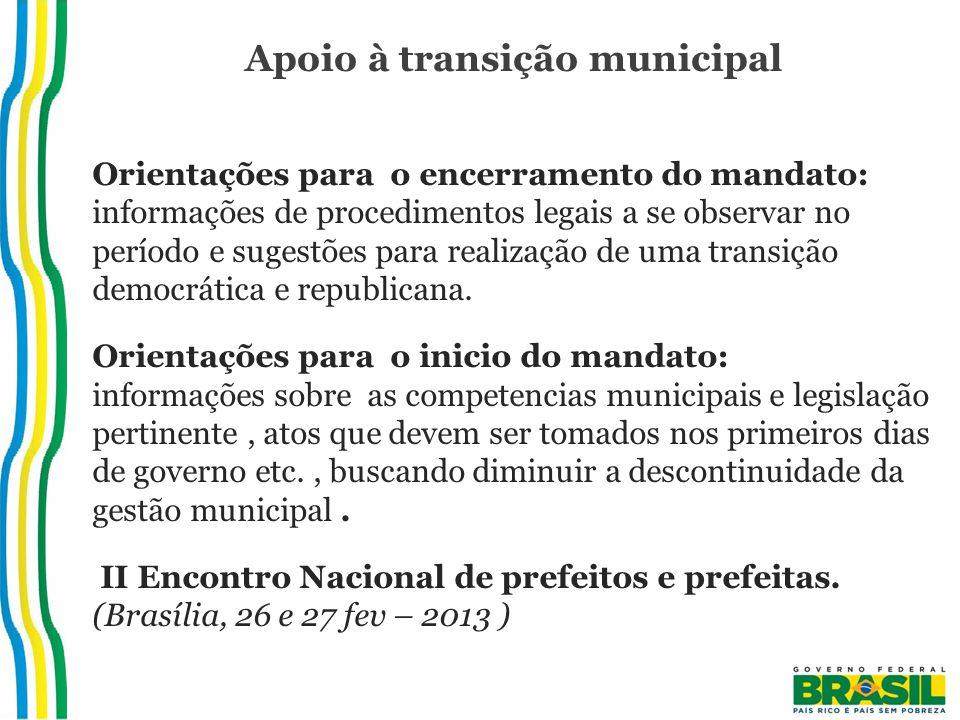 Apoio à transição municipal Orientações para o encerramento do mandato: informações de procedimentos legais a se observar no período e sugestões para realização de uma transição democrática e republicana.