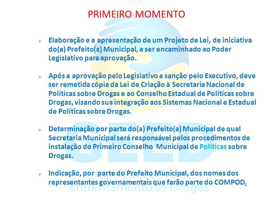 PRIMEIRO MOMENTO Elaboração e a apresentação de um Projeto de Lei, de iniciativa do(a) Prefeito(a) Municipal, a ser encaminhado ao Poder Legislativo p