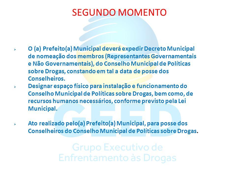 SEGUNDO MOMENTO O (a) Prefeito(a) Municipal deverá expedir Decreto Municipal de nomeação dos membros (Representantes Governamentais e Não Governamenta