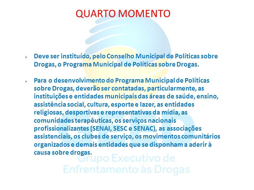 QUARTO MOMENTO Deve ser instituído, pelo Conselho Municipal de Políticas sobre Drogas, o Programa Municipal de Políticas sobre Drogas. Para o desenvol