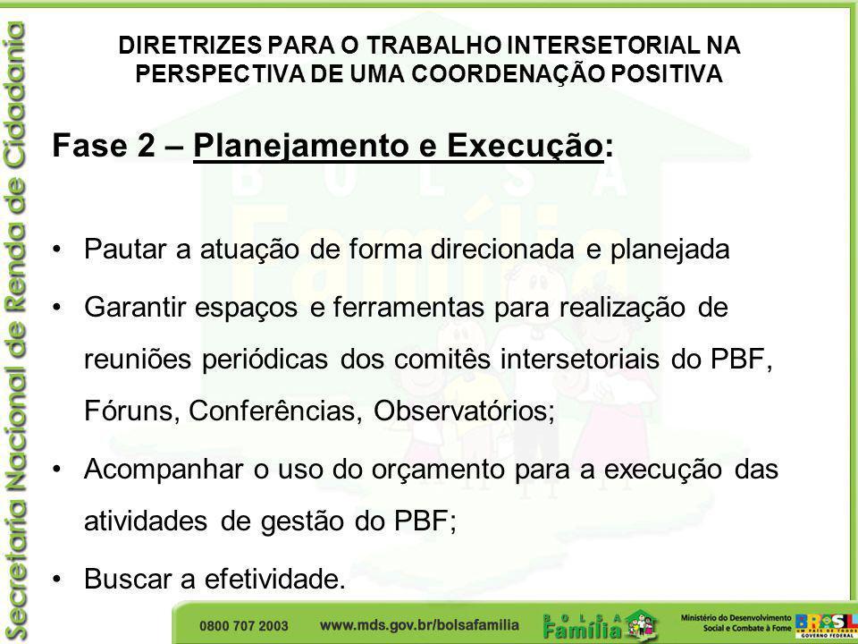 DIRETRIZES PARA O TRABALHO INTERSETORIAL NA PERSPECTIVA DE UMA COORDENAÇÃO POSITIVA Fase 2 – Planejamento e Execução: Pautar a atuação de forma direci